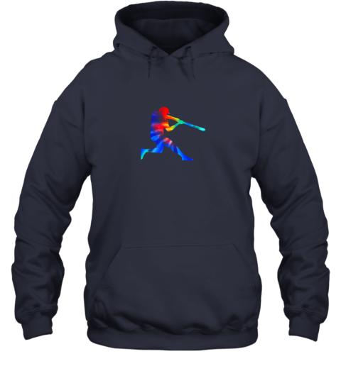 5v8l tie dye baseball batter shirt retro player coach boys gifts hoodie 23 front navy