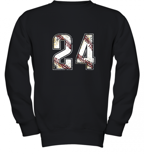 #24 Baseball Jersey Number 24 Vintage Retro Birthday Gift Youth Sweatshirt