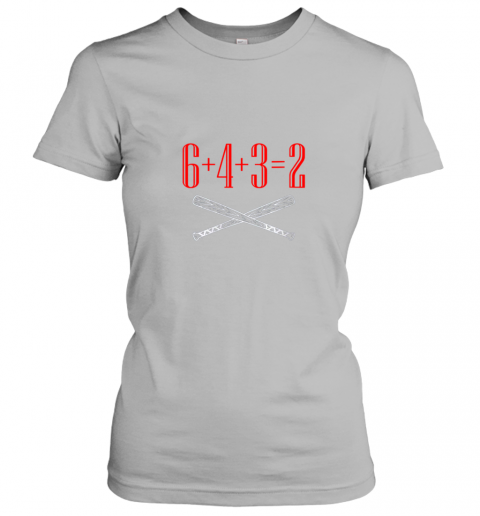 qthp funny baseball math 6 plus 4 plus 3 equals 2 double play ladies t shirt 20 front sport grey