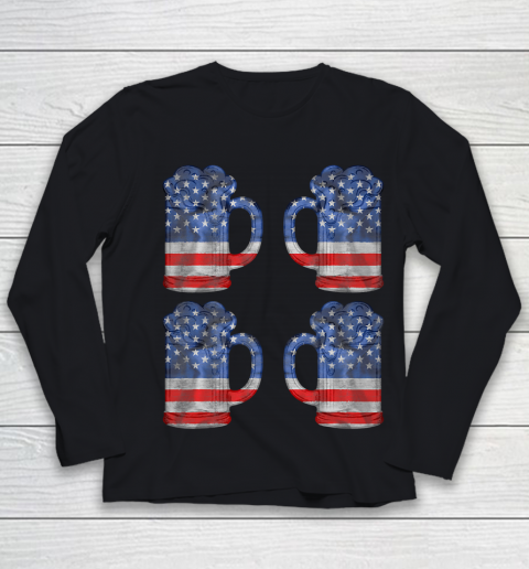 Beer Lover Funny Shirt Beer American Flag 4th Of July Merica Youth Long Sleeve 1