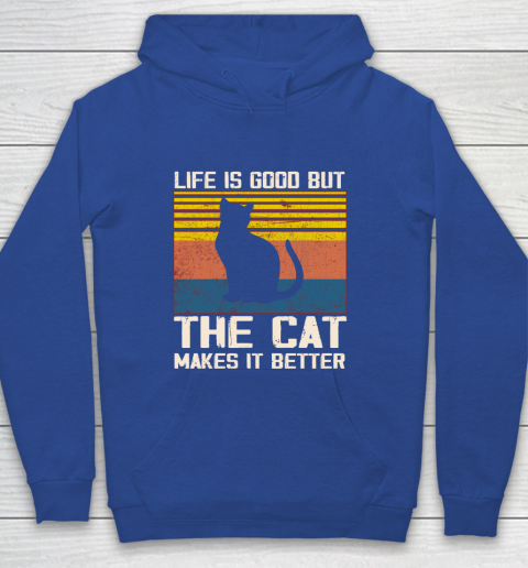 Life is good but the cat makes it better Youth Hoodie 6