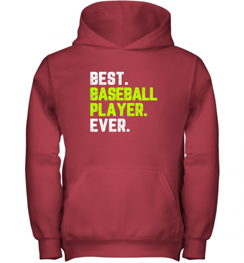 gooo best baseball player ever funny quote gift youth hoodie 43 front red