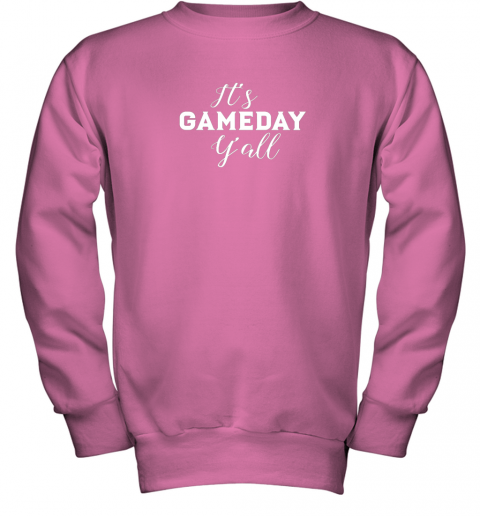 t2zo it39 s game day y39 all football baseball basketball youth sweatshirt 47 front safety pink