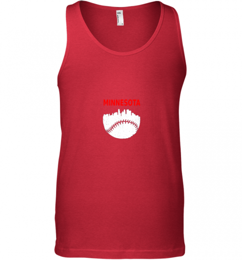 zzos retro minnesota baseball minneapolis cityscape vintage shirt unisex tank 17 front red