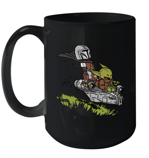 Baby Yoda And Mandalorian Calvin And Hobbes Ceramic Mug 15oz