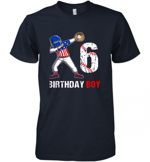 y2qy kids 6 years old 6th birthday baseball dabbing shirt gift party premium guys tee 5 front midnight navy