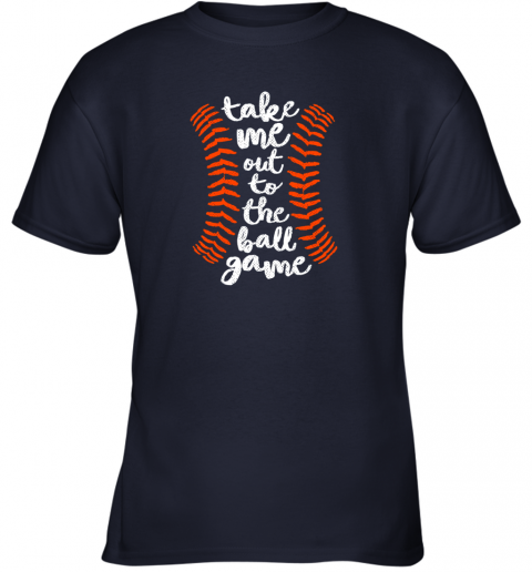 uvoz take me out ball game shirt baseball song orange black blue youth t shirt 26 front navy
