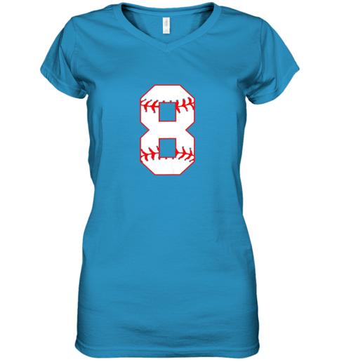 ix9l cute eighth birthday party 8th baseball shirt born 2011 women v neck t shirt 39 front sapphire