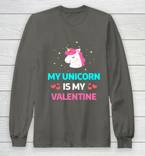 Funny Valentines Day Shirt Unicorn Is My Valentine Long Sleeve T-Shirt 5