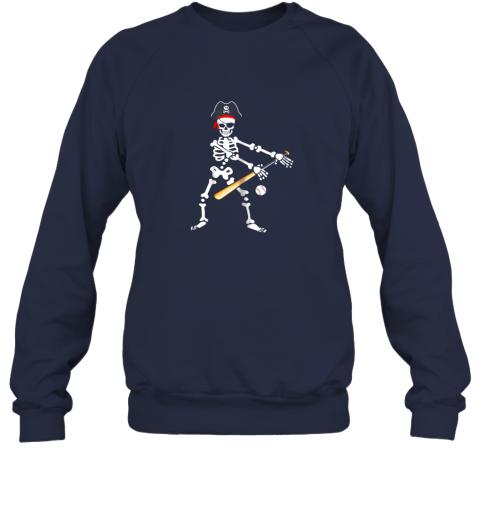 y4tm skeleton pirate floss dance with baseball shirt halloween sweatshirt 35 front navy