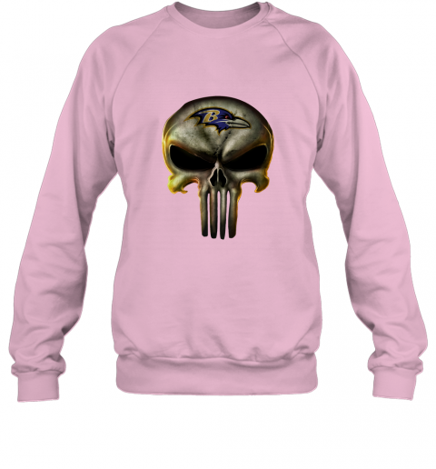 vqpa baltimore ravens the punisher mashup football shirts sweatshirt 35 front light pink