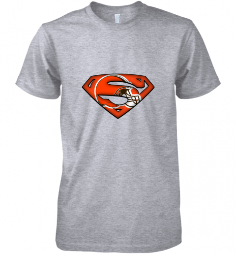 pjsl we are undefeatable the cleveland browns x superman nfl premium guys tee 5 front heather grey