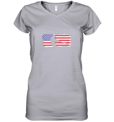 ysvs usa american flag baseball player perfect gift women v neck t shirt 39 front sport grey