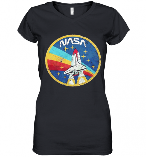 Lgbt Plane Nasa Logo Women's V-Neck T-Shirt