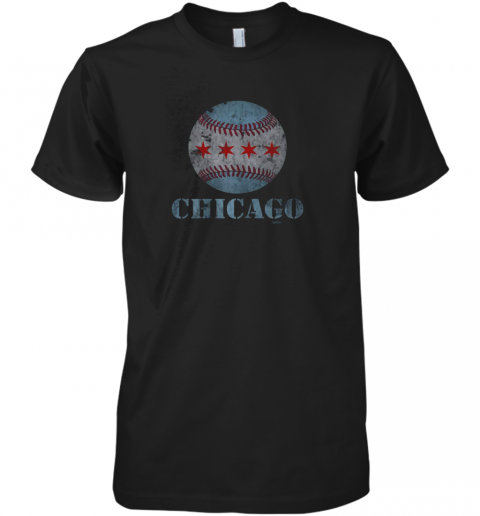 Vintage Chicago Baseball Flag Premium Men's T-Shirt