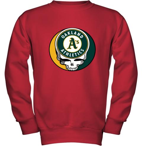 06ns oakland athletics the grateful dead baseball mlb mashup youth sweatshirt 47 front red