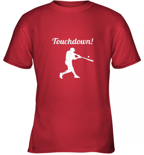 qjay touchdown funny baseball youth t shirt 26 front red