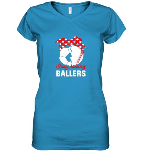 uln5 busy raising a ballerfunny baseball soccer mom women v neck t shirt 39 front sapphire