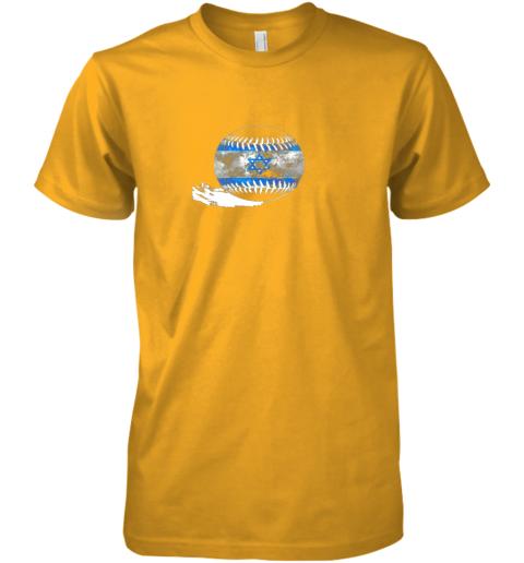 sokx vintage baseball israel flag shirt israelis pride premium guys tee 5 front gold