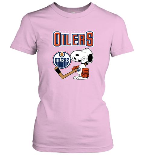 mutj edmonton oilers ice hockey broken teeth snoopy nhl shirt ladies t shirt 20 front light pink
