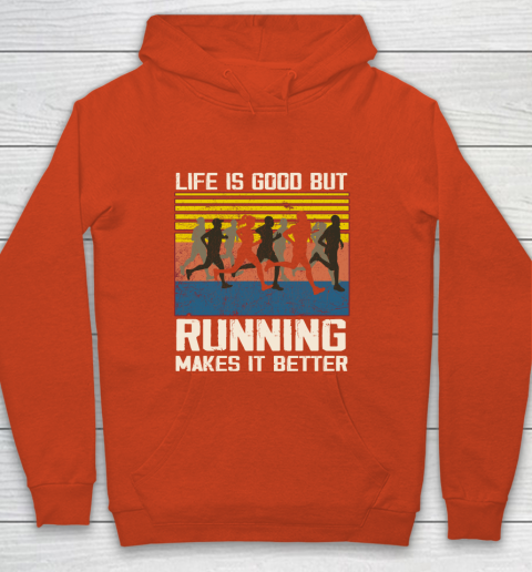Life is good but running makes it better Youth Hoodie 3