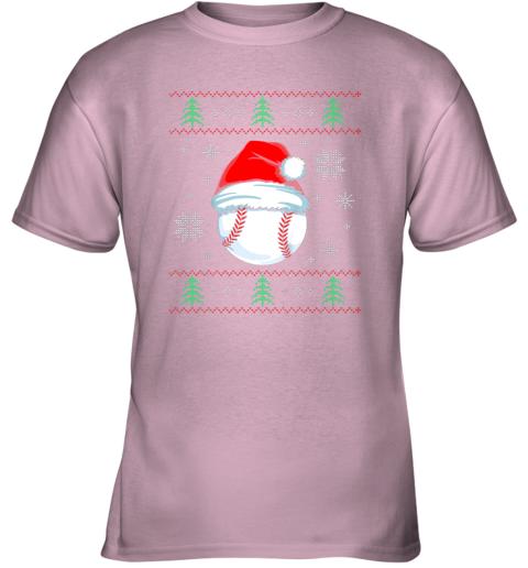8yuz ugly christmas baseball shirt boys kids ball santa pajama youth t shirt 26 front light pink