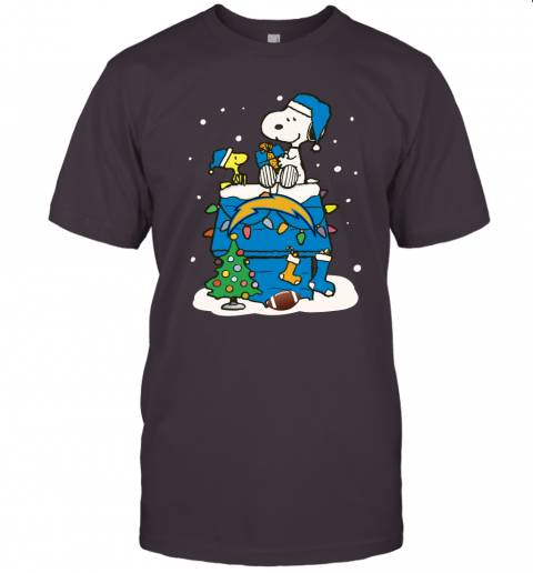 A Happy Christmas With Los Angeles Chargers Snoopy Unisex Jersey Tee