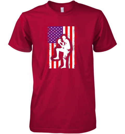 wiud vintage usa american flag baseball player team gift premium guys tee 5 front red