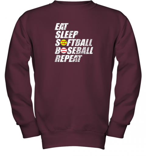 ypmz softball baseball repeat shirt cool cute gift ball mom dad youth sweatshirt 47 front maroon