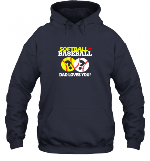 4j40 softball or baseball dad loves you gender reveal hoodie 23 front navy
