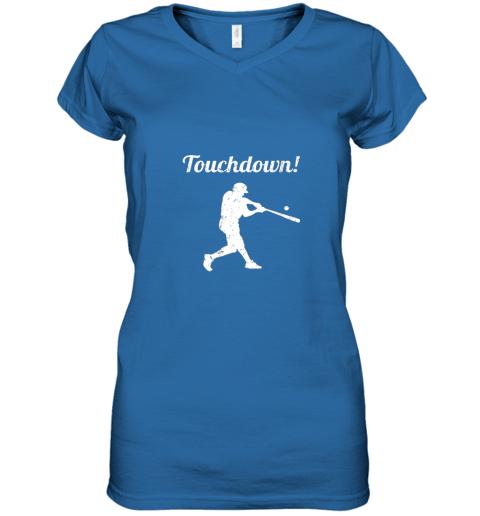 plpp touchdown funny baseball women v neck t shirt 39 front royal