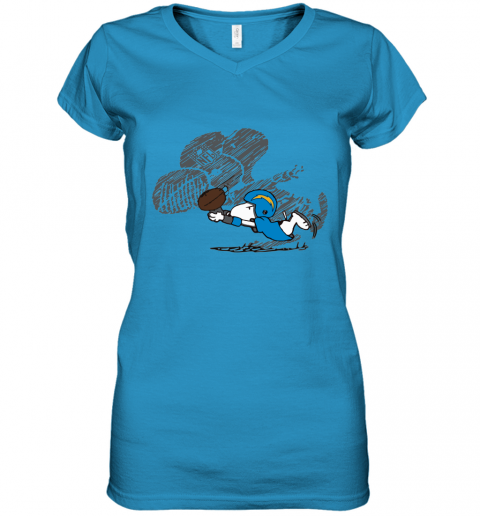 Los Angeles Chargers Snoopy Plays The Football Game Women's V-Neck T-Shirt