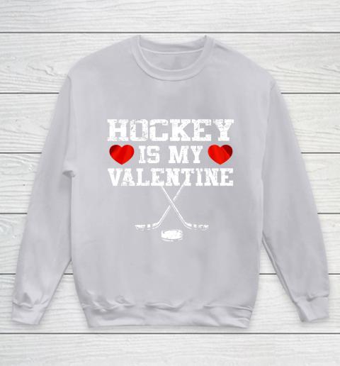 Hockey Is My Valentine Youth Sweatshirt 3