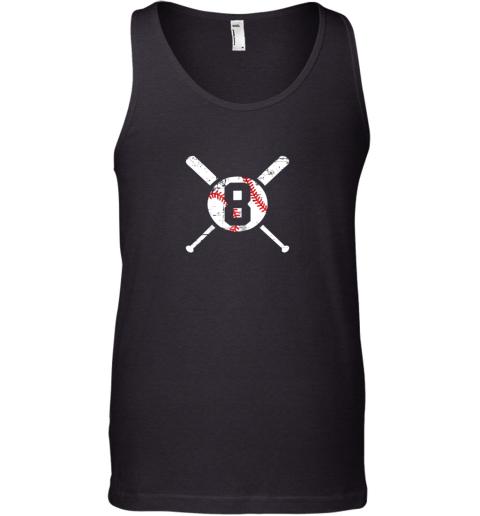 Baseball Number 8 Eight Shirt Distressed Softball Apparel Tank Top