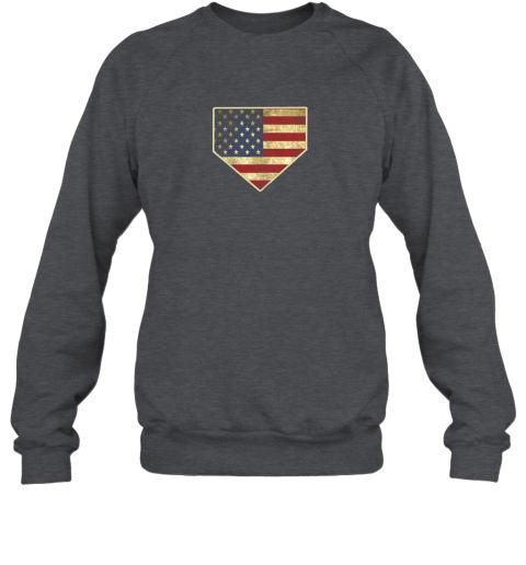 ys8w vintage american flag baseball shirt home plate art gift sweatshirt 35 front dark heather