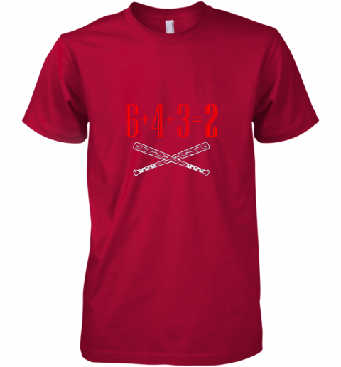 ks75 funny baseball math 6 plus 4 plus 3 equals 2 double play premium guys tee 5 front red