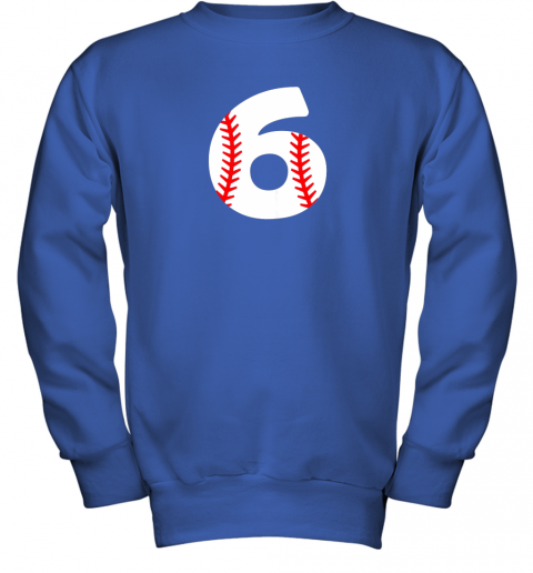 mrhd sixth birthday 6th baseball shirtnumber 6 born in 2013 youth sweatshirt 47 front royal