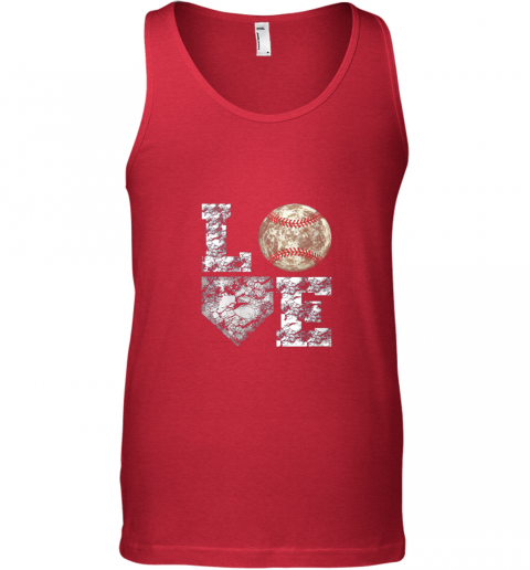 lznh baseball distressed ball cute dad mom love gift unisex tank 17 front red