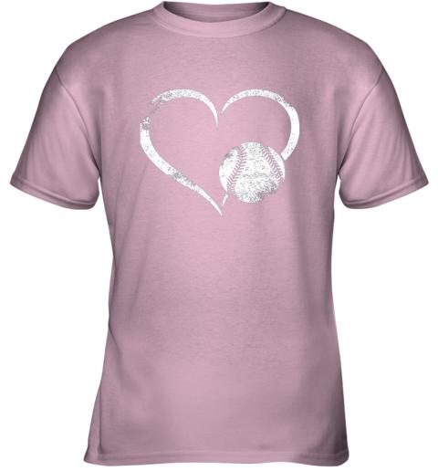 2382 i love baseballl funny baseball lover heartbeat youth t shirt 26 front light pink