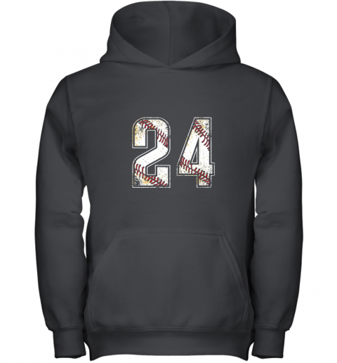 #24 Baseball Jersey Number 24 Vintage Retro Birthday Gift Youth Hoodie