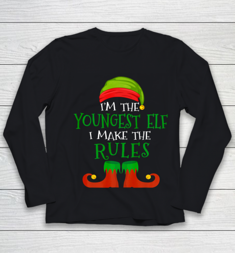 Youngest Elf Family Matching Funny Christmas Pajama Party Youth Long Sleeve