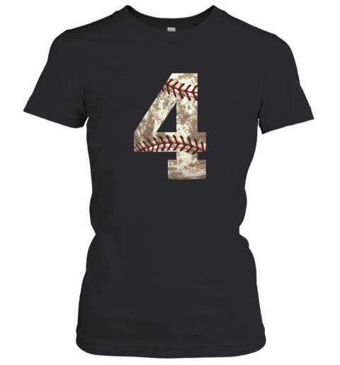 Baseball Jersey Number 4 t shirt Distressed Ball Women's T-Shirt