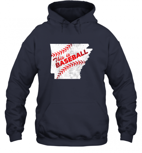 axqo this is baseball arkansas with red laces hoodie 23 front navy