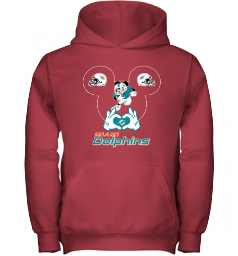 4szz i love the dolphins mickey mouse miami dolphins youth hoodie 43 front red