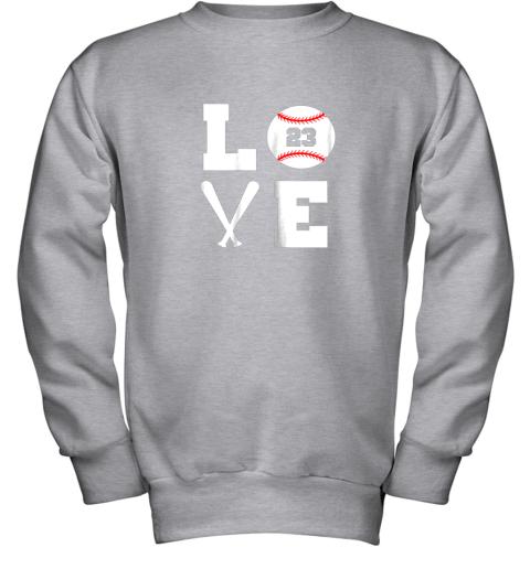 aipk i love baseball player number 23 gift shirt youth sweatshirt 47 front sport grey
