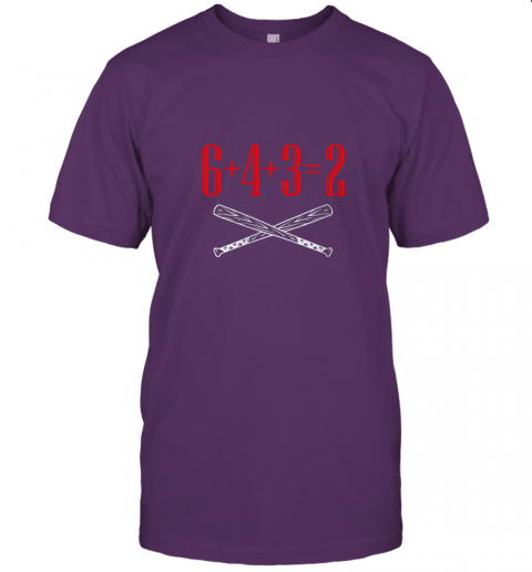 1jlk funny baseball math 6 plus 4 plus 3 equals 2 double play jersey t shirt 60 front team purple