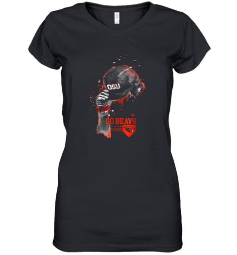 Oregon State Beavers Rising Baseball Hat Shirt  Apparel Women's V-Neck T-Shirt