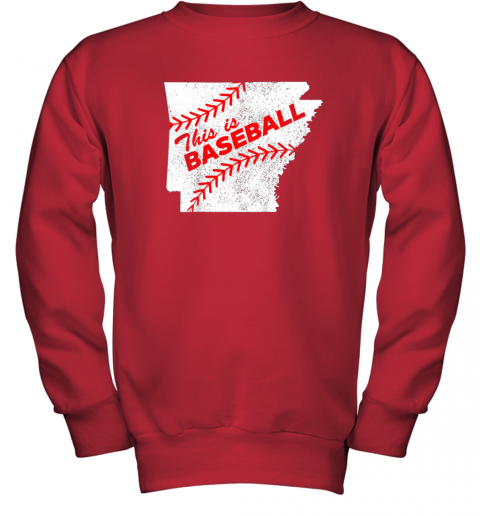 muv4 this is baseball arkansas with red laces youth sweatshirt 47 front red