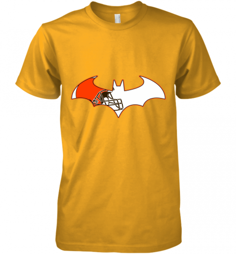 epgb we are the cleveland browns batman nfl mashup premium guys tee 5 front gold