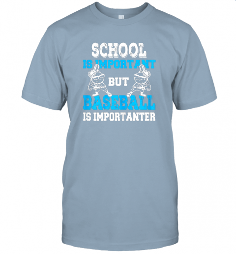 9ksg school is important but baseball is importanter boys jersey t shirt 60 front light blue